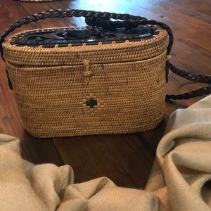 Handbags - Woven Purse with carved wood details
